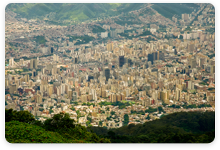 View looking down towards Caracas Venezuela from a Mountain.