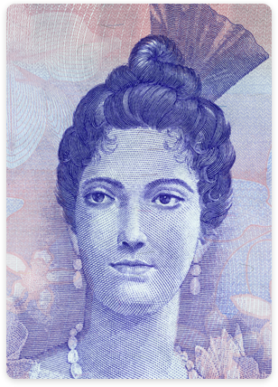 Venezuelan money - Bolivar focused on woman on currency.